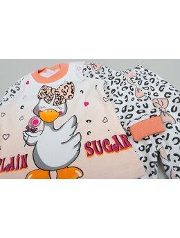 Pijama ratusca cu fundita model coral deschis