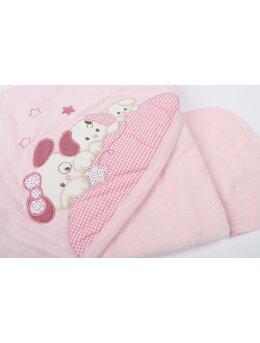 Prosop baie cu catelusi + batistuta model roz