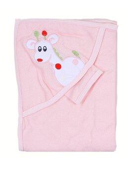 Prosop baie roz cu girafa