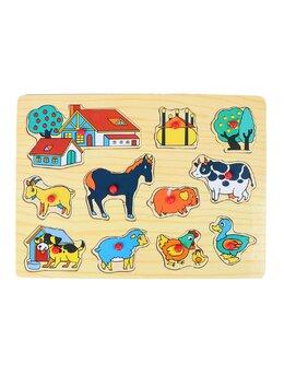 Puzzle din lemn cu animale domestice ferma
