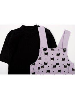 Salopeta cu bluza PISICUTE BLACK model mov-negru *