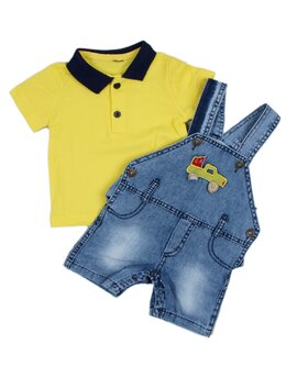 Salopeta de blug cu tricou galben