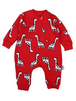 Salopeta girafe model roșu