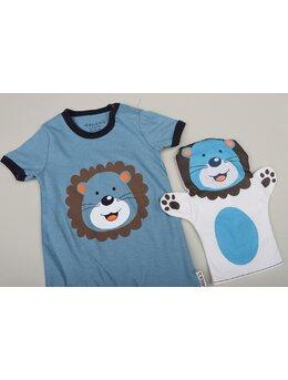Salopeta ursuleț cu mănușă model albastru