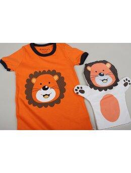 Salopeta ursuleț cu mănușă model portocaliu