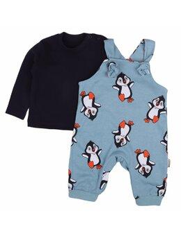 Salopeta+ bluzita pinguini model albastru