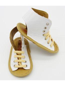 Sandale albe cu siret