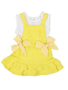 Sarafan de blug cu tricou si fundita BELLA model galben