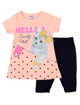 Set 2 piese HELLO cat coral