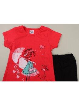 Set fetita cu aripioare model rosu pal