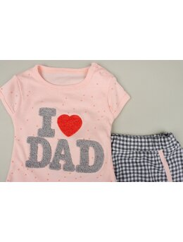 Set I love DAD 2 piese coral