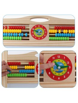 Tabla educativa din lemn 3 in 1 multifunctionala