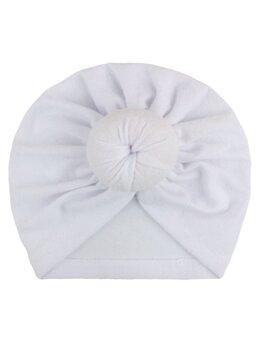 Turban elastic catifelat alb