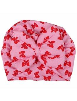 Turban roz cu fundițe roșii