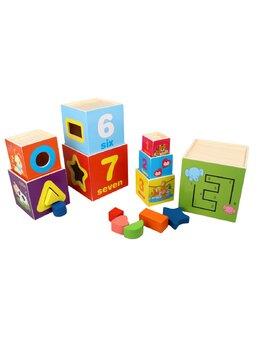 Turn din 8 cuburi Montessori din lemn cu forme, cifre, animale