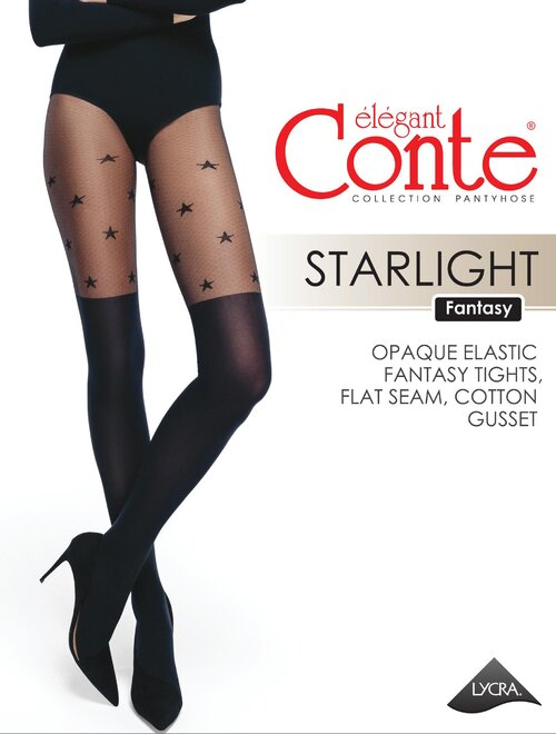 Ciorapi imitatie jambiere si stelute Conte Elegant Starlight 50 den