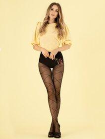 Ciorapi negri cu model in dungi Fiore Fresno 20 den
