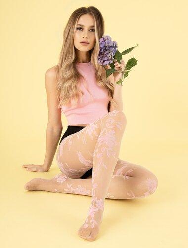 Ciorapi subtiri cu model floral Fiore Flower Power 8 den