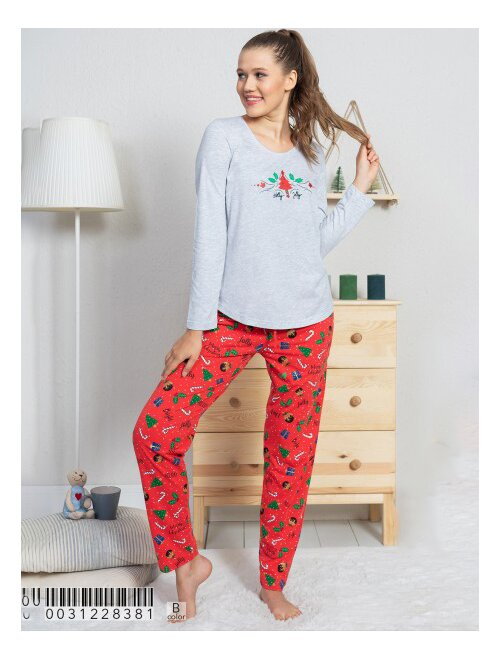 Pijamale bumbac cu bradulet si bastonase Vienetta 8381