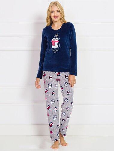 Pijamale moi velur cu model Vienetta 4985