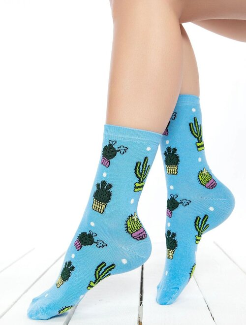 Sosete albastre cu cactusi Socks Concept BRG448
