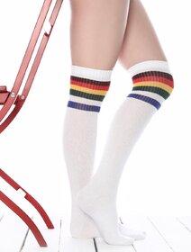 Sosete jambiere albe lungi peste genunchi Brogetti BRG715-3