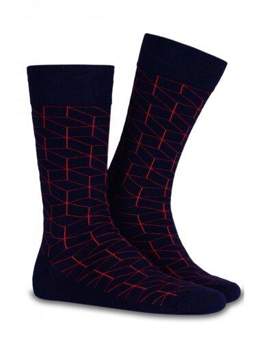 Sosete casual cu contur rosu Socks Concept SC-1523