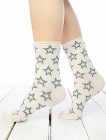 Sosete ecru cu stelute metalizate Socks Concept BRG597