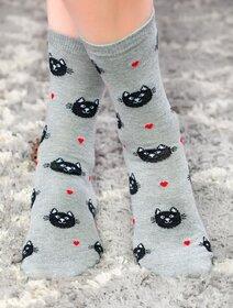 Sosete gri cu pisicuta si inimioare Socks Concept SC-NL02