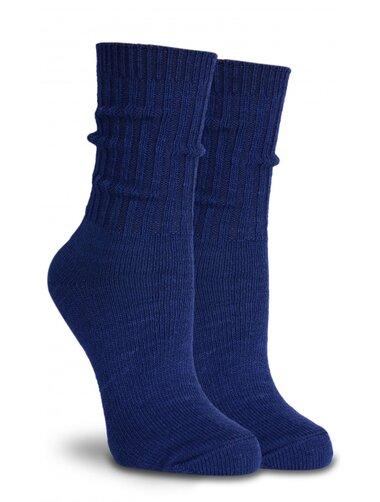 Sosete groase lana bleumarin cu manseta lunga raiata Socks Concept SC-1601