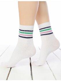 Sosete raiate albe cu dungi colorate Socks Concept 198BRG-18