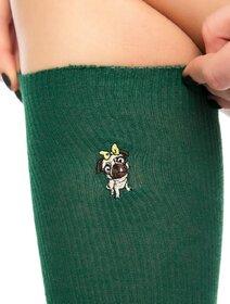 Sosete raiate lungi sub genunchi cu catel pug brodat Socks Concept SC-1893-1