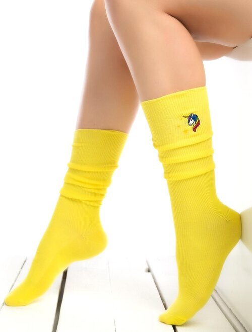Sosete raiate lungi sub genunchi cu unicorn brodat Socks Concept SC-1893