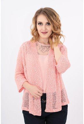 Blazer tricotat roz cu paiete aurii