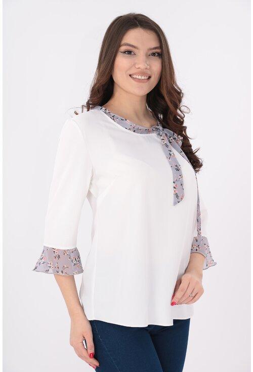 Bluza alba cu esarfa gri cu print floral