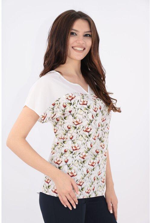 Bluza alba cu print floral caramiziu