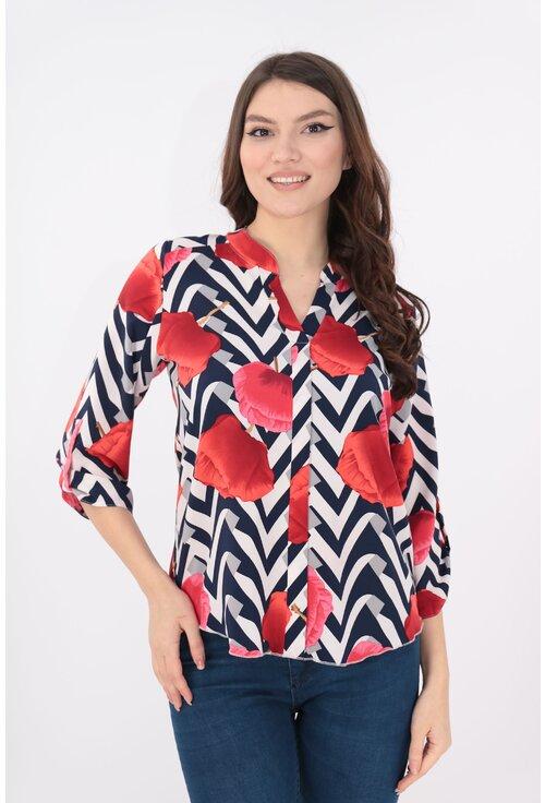 Bluza alba cu print geometric si maci