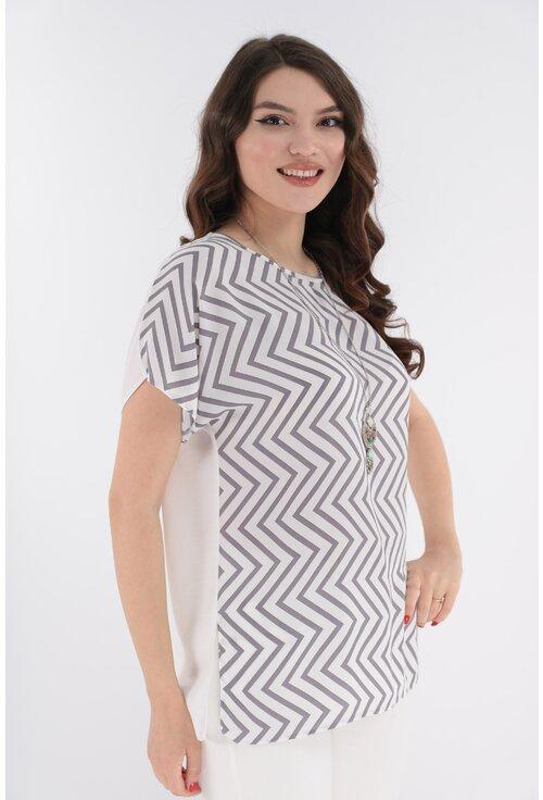 Bluza alba cu print gri zig-zag