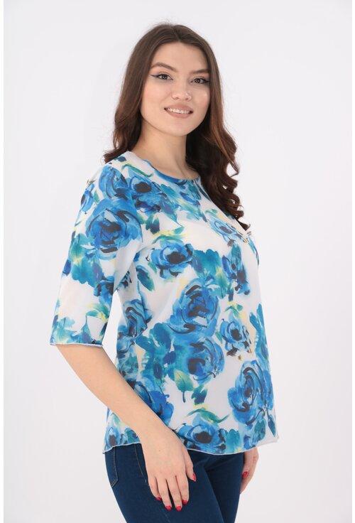Bluza alba cu trandafiri albastri