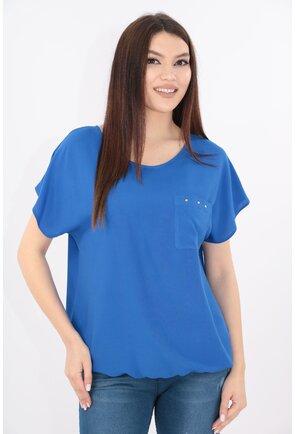 Bluza albastra din bumbac cu buzunar aplicat