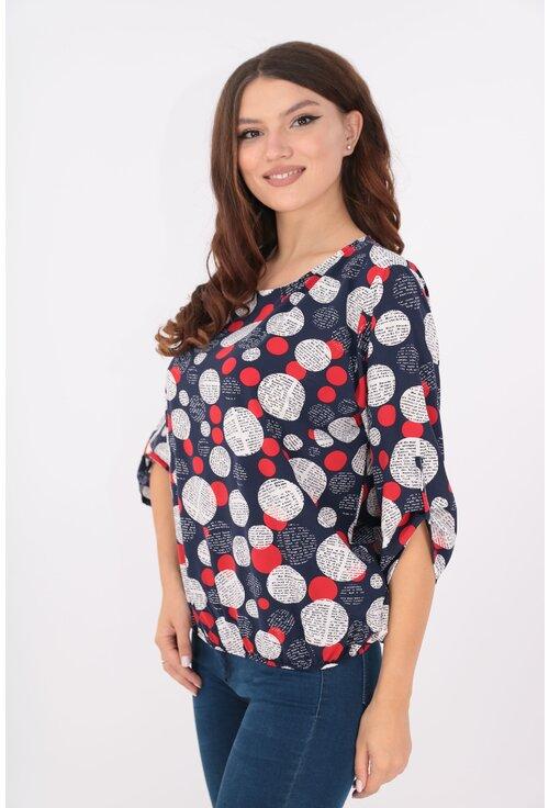 Bluza bleumarin cu buline maxi rosii