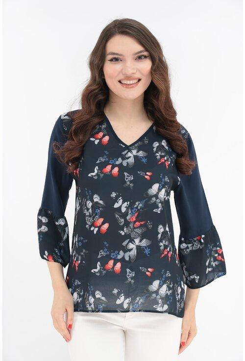 Bluza bleumarin cu fluturasi
