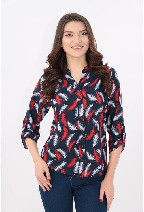 Bluza bleumarin cu pene rosii si guler tunica