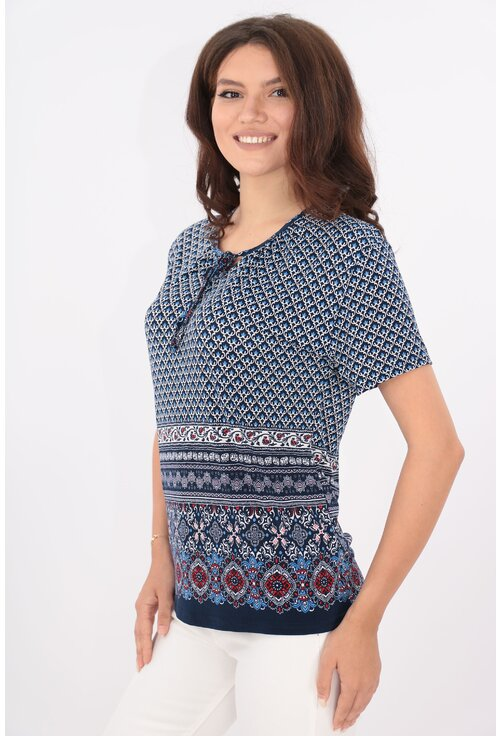 Bluza bleumarin cu print abstract bleu si bordura