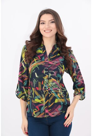 Bluza bleumarin cu print abstract multicolor si guler tunica
