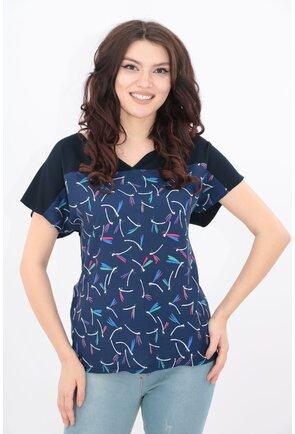 Bluza bleumarin cu print abstract multicolor