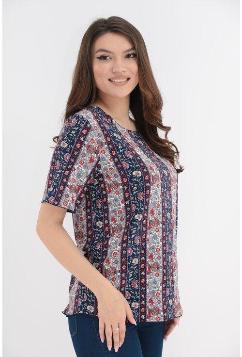 Bluza bleumarin cu print floral crem-rosu