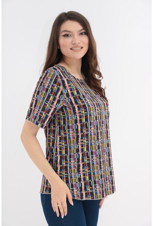 Bluza bleumarin cu print geometric multicolor