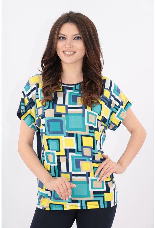 Bluza bleumarin cu print multicolor galben