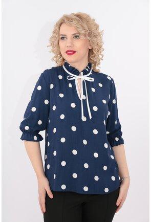 Bluza bleumarin din bumbac cu buline albe